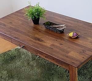 ISSEIKI DINING TABLE ダイニングテーブル ブラウン色 幅140 ダメージ加工 木製家具 【ZE-78-1】