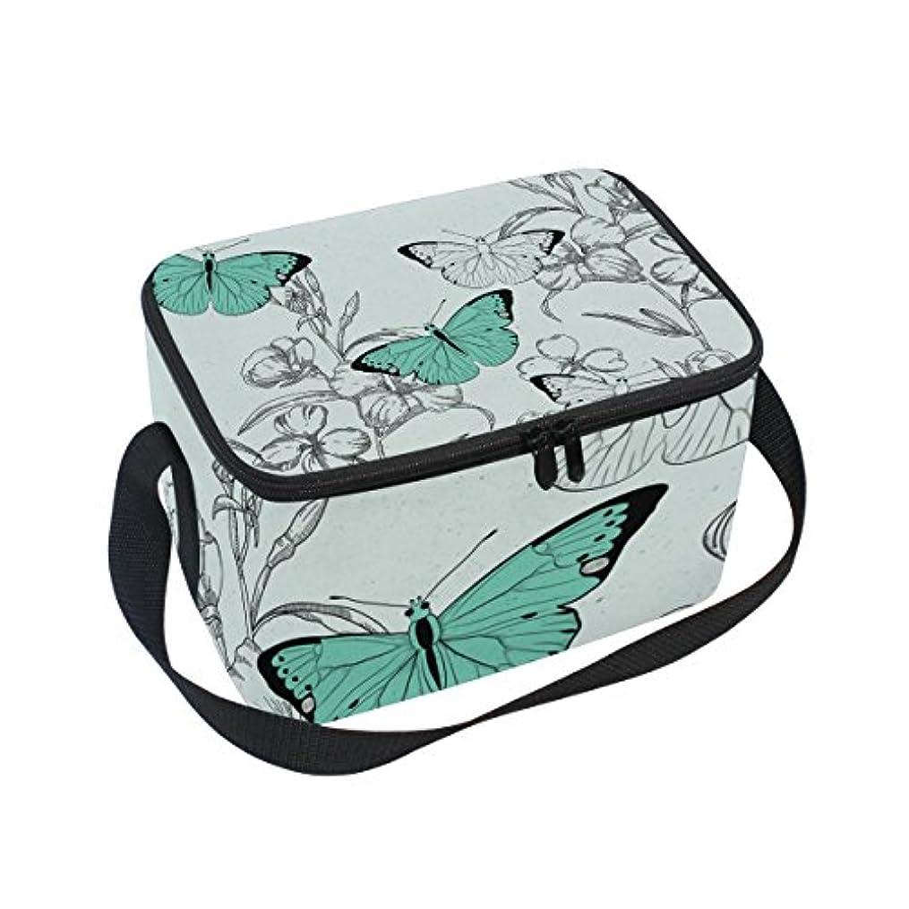 緑受信部分的にクーラーバッグ クーラーボックス ソフトクーラ 冷蔵ボックス キャンプ用品  手描き 緑蝶柄 保冷保温 大容量 肩掛け お花見 アウトドア
