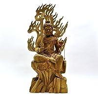 迫力木彫り仏像 ☆【不動明王半跏像】 楠木 坐7.5寸 総高62cm