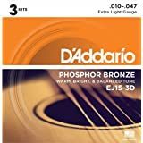 D'Addario ダダリオ アコースティックギター弦 フォスファーブロンズ Extra Light .010-.047 EJ15-3D 3set入りパック 【国内正規品】