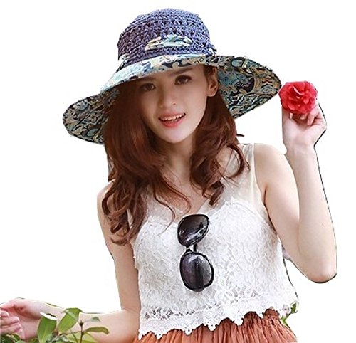 DEEPEYES レディース uv 折りたたみ つば広 おしゃれ 麦わら 帽子 全5色 ネックレス セット ハット キャップ ぼうし 大きい サイズ 花柄 紫外線 熱中症 日焼け 対策 夏 ビーチ (ネイビー色)