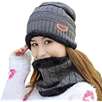 Fantastic Zone Womens Winter Warm Snow Ski Slouchy Beanie Knit Hat and Scarf Set with Fleece