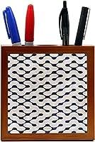 Rikki Knight Grunge Beige on Dark Green Maze Design Inch Tile Wooden Tile Pen Holder [並行輸入品]