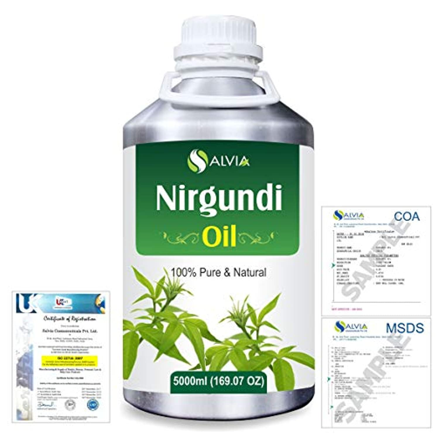 ペン硬化する偽善Nirgundi (Vitex negundo) 100% Natural Pure Essential Oil 5000ml/169fl.oz.