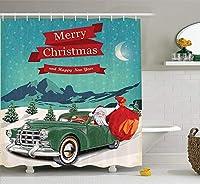 クリスマス&新年おめでとう シャワーカーテン 浴室 間仕切り 防水 防カビ リング付属 風呂用 目隠し バスカーテン 210x180cm