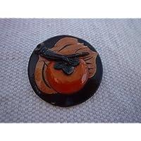 木製ブローチ 花 円形