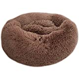 feelingood Pet Dog Cat Calming Bed Round Nest Warm Soft Plush Comfortable Donut Cuddler Cats Bed Warm Plush Dog Puppy Mat Pet Bed for Sleeping Winter