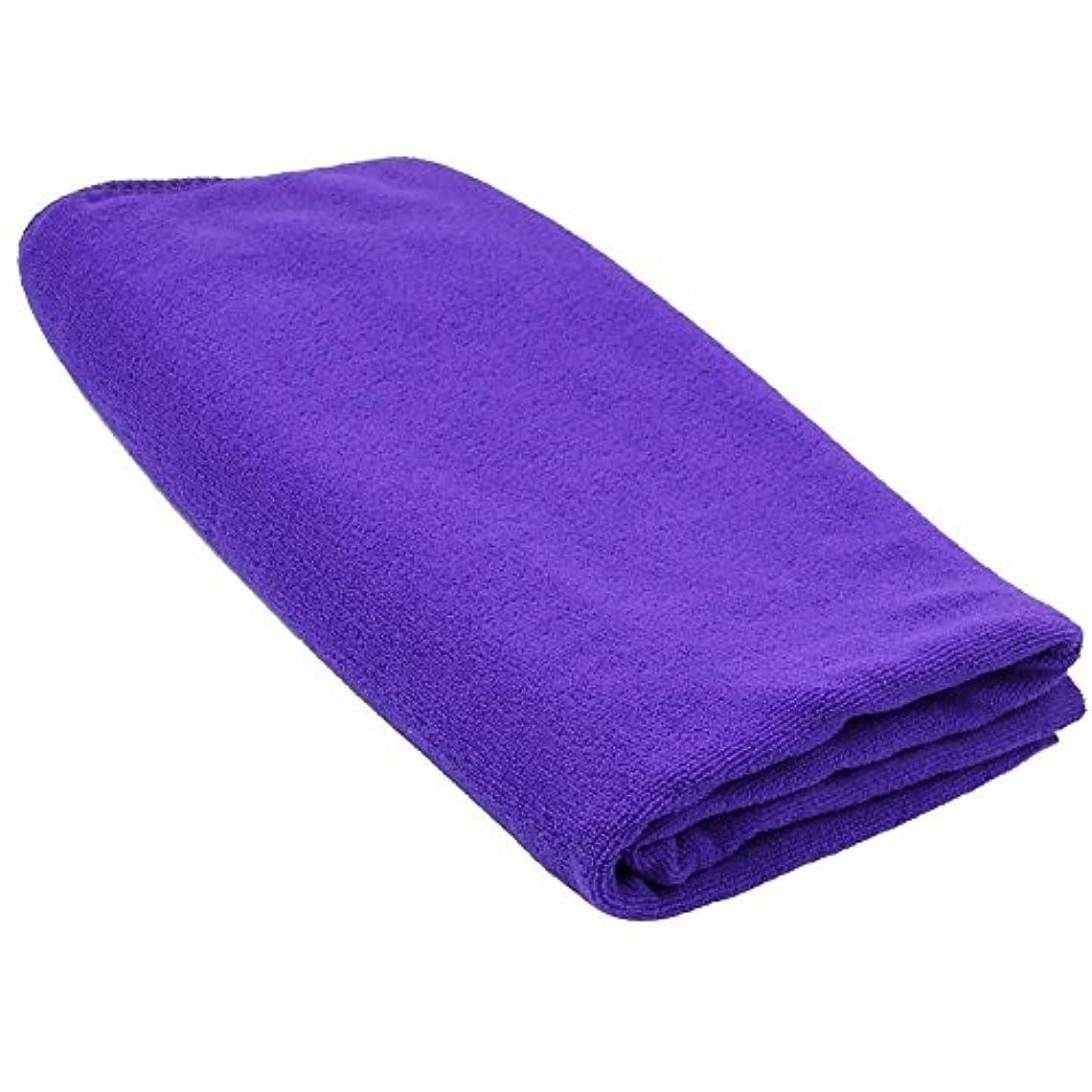 チャレンジ司法線SODIAL(R) 耐久性がある速乾性マイクロファイバーバスタオル 旅行 ジム キャンプ スポーツ用 紫