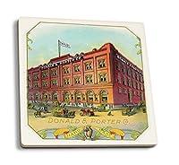 Donald and Porter企業ブランドシガーボックスラベル–DとPの外部ビューの建物 4 Coaster Set LANT-27884-CT
