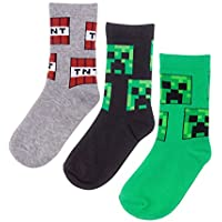 Vanilla Underground Minecraft Creeper Assorted 3 Pack Boy's Socks