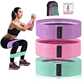 Strength Booty Fabric Bands, Xcellent Global 3 Pcs Non-Slip Fabric Resistance Bands for Butt, Leg & Arm, Circle Workout Hip Bands with Varied Resistance Levels, Perfect for Home Workout or Gym Fitness, Carry Bag and Instruction Included