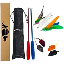 11in1 Cat Feather Toys Interactive Wand Poles With Catnip Squeaky Mice Refills Catcher for Fun Cat Kitten