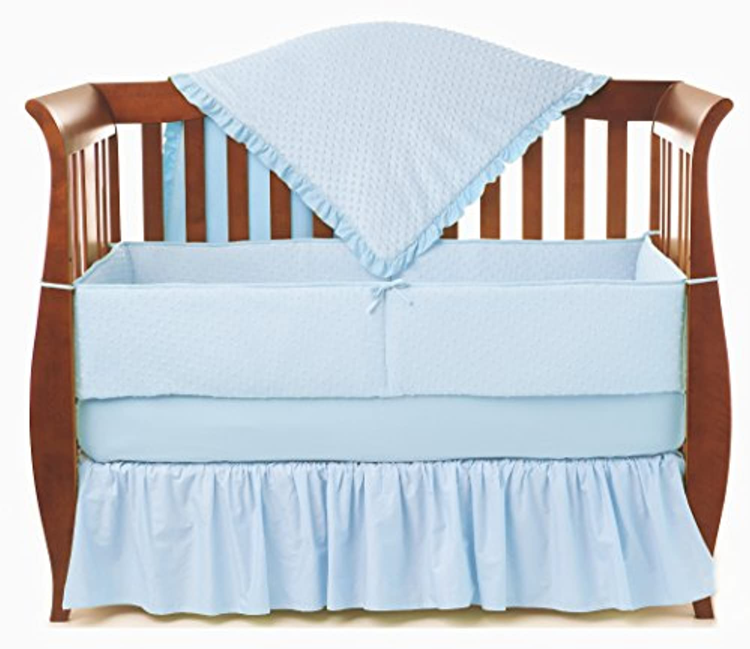American Baby Company Heavenly Soft Minky Dot 4-Piece Crib Bedding Set, Blue by American Baby Company