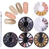 NICOLE DIARY 6 Boxes Chameleon Nail Beads Rhinestones Stone Resin Gold Metal Studs Irregular 3D Decoration Colorful Nail Art with 1Pc Wax Pen Rhinestone Picker Easily Picking Up Tools