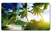セイシェル、マヘ島、タカマカビーチ、熱帯、ヤシの木、海、太陽の光 パターンカスタムの マウスパッド 海 デスクマット 大 (60cmx35cm)