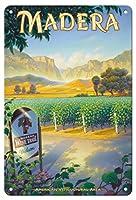 22cm x 30cmヴィンテージハワイアンティンサイン - マデラ(サン・ホアキン・バレー)・ワイナリー - セントラルヴァレーAVAブドウ園 - カリフォルニアワインカントリーアート によって作成された カーン・エリクソン