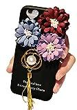 (ポルトプエルト) Porto Puerto iPhone7 iPhone6 Plus ケース カバー 花 パール 雪の結晶 葉っぱ リーフ デコ タッセル シリコン ブラック ハート ストラップ アイフォン ( iPhone 6/6 Plus/6s/6s Plus ) (iPhone 6 Plus/6s Plus, パール)