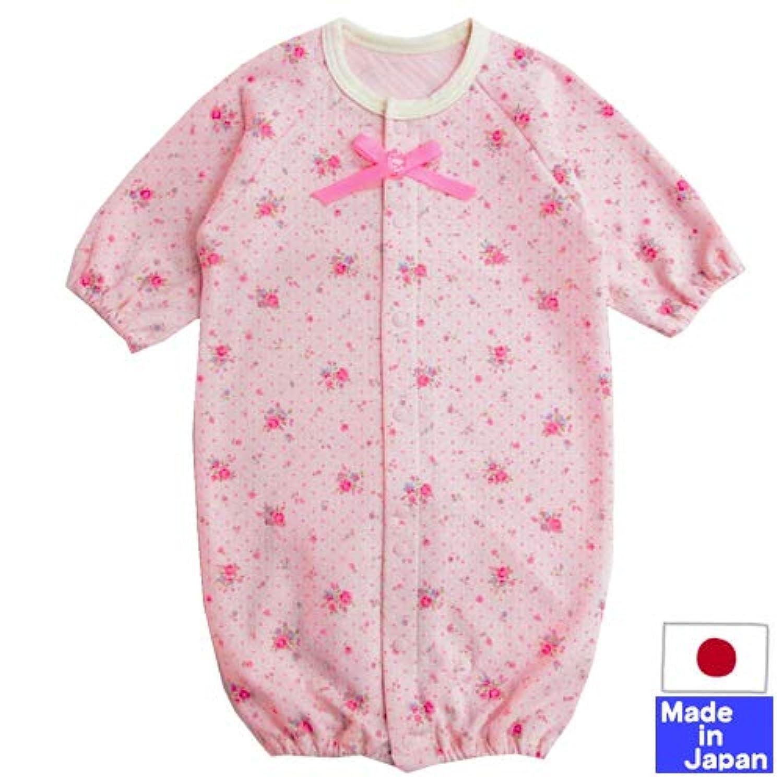◇日本製◇リボン付 花柄 ツーウェイオール (ピンク) 送料無料 新生児 サイズ50-60cm