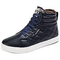 Gaorui Men's Winter Boots Snow Boots Lace Up Ankle Sneakers High Top Winter Shoes with Fur Lining Chukka Boot