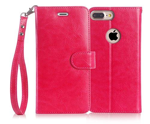 iphone8 plus ケース iphone7 plus ケース,Fyy [RFIDブロッキング] 100%手作り 良質PUレザーケース 横開き 手帳型 二つ折り カードホルダー&ストラップ付き スタンド機能 マグネット開閉 保護カバー iPhone 8 Plus/7 Plus 用 マゼンタ