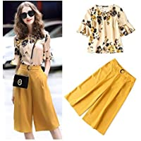 XuBa Office Lady Elegant Clothing Set Women Summer Retro Floral Print Ruffles Shirts Blouses + Open Leg Pants Suits NS218