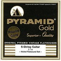 PYRAMID Gold Chrome Nickel Flatwounds On Round Core True Vintage (13-56) ピラミッド エレキギター弦 【国内正規品】
