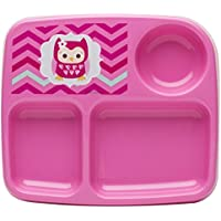 Zak! Designs Toddlerific 3-Section Toddler Plate with Pink Owl, No-tip Wide Base, Break-resistant and BPA-free Plastic by Zak Designs
