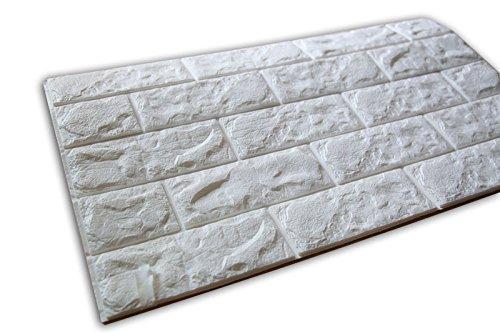 SOOMJ【5枚 薄い】ブリック タイル レンガ 壁紙シール 70cm×77cm ブリックステッカー 軽量レンガシール 壁紙シール アクセントクロス ウォールシール はがせる 壁シール (ホワイト)