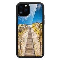 iPhone 11 Pro Max 用 強化ガラスケース クリア 薄型 耐衝撃 黒 カバーケース ビーチ 静かな静寂の静けさに包まれた静かな海岸をリラックスしながら、野性的な無限の空に向かう歩道 クリームブルー iPhone 11 Pro 2019用 iPhone11 Proケース用