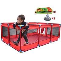 マット付きの大型屋内屋外の赤ちゃん遊び場セーフティーボーイズガールズプレイセンターヤードポータブル折り畳み幼児ホーム活動エリアフェンス10パネル、赤