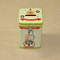 マネー バンク 革新的なロボットピギーバンクプレミアムティンプレートポットクワッドアイアンボックス(グリーン)