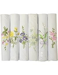 Etho 6レディースColouredとホワイトBoxed刺繍ハンカチ