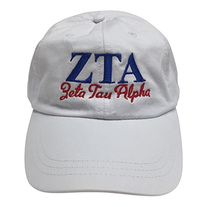 スケートラインそよ風Zeta Tau Alpha ( S )ホワイトDesigner Sorority野球帽子ギリシャ文字スポーツキャップwithブルー/レッドスレッド1つサイズ調整可能ストラップ