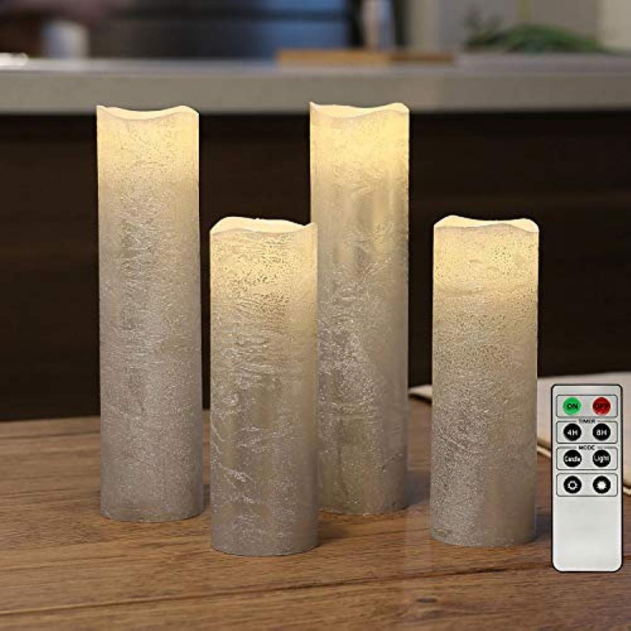 無傷噴水エチケットシルバー電池式キャンドル、スリムFlameless Candle、テクスチャ仕上げ、ワックス、4のセット電池&リモート含ま