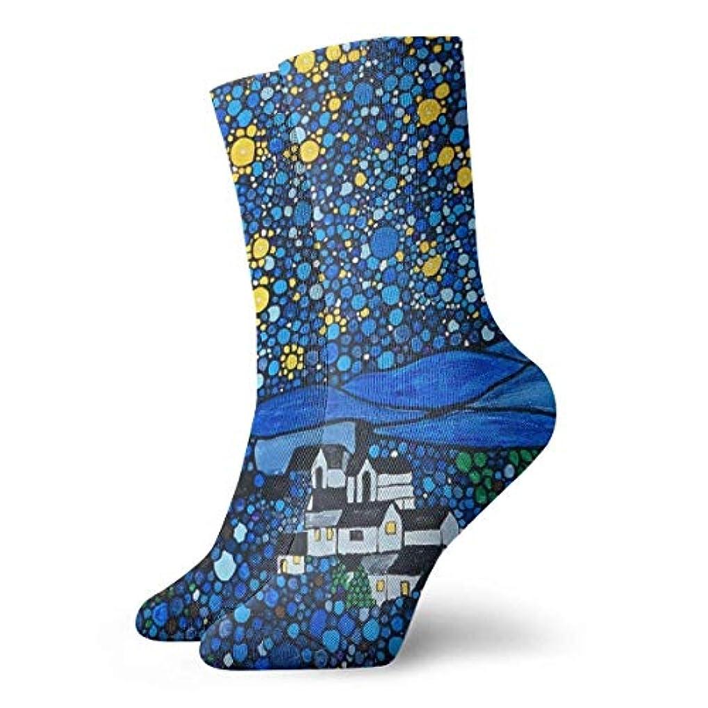 古風な気体のどちらかクルーザーの女性のゴッホの星の夜ソフトクリスマス膝高ストッキング靴下、クリスマス楽しいカラフルな靴下ソックス