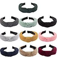 Kicosy 10 Pieces Headbands for Women Wide Plain Headbands Knot Turban Headbands Fashion Elastic Hairband Solid Color for Women Cotton Headbands for Women(10 Colors)