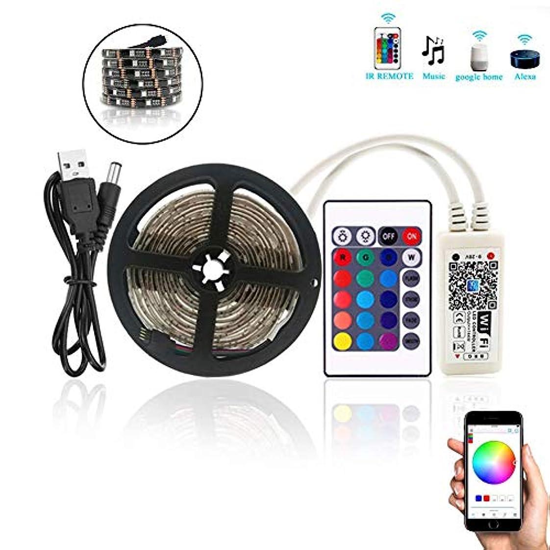 回路明らかにする妖精PCB TVバックライトキット、LEDストリップライト、フレキシブルテープライトキット、WiFi TVバックライトLEDライトバー24キー赤外線リモコン2M USB 5V,黒