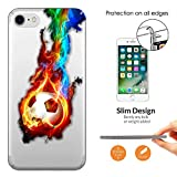 "c00618 - Cool Colourful Football Fire Flame Football Soccer Sports Fans Design iphone 7 4.7"" 0.3 MM レザー手帳型ケース ダイアリー カード 収納 ポケット スロット スタンド 財布型"