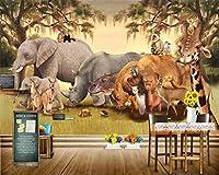 Bzbhart カスタム壁紙アフリカサバンナ動物漫画壁画家の装飾リビングルームの寝室の背景壁画3d壁紙-300cmx210cm