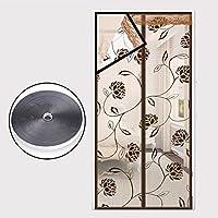 夏磁気網戸蚊耐性, 大型メッシュ スクリーン キッチン寝室画面ドア メッシュ カーテン シンプルなフルフレームをスクリーニング ソフト velcro-G 95x200cm(37x79inch)