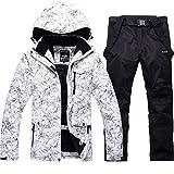 スキーウェア メンズ レディース 上下セット スノーボードウェア 2点セット white/black M