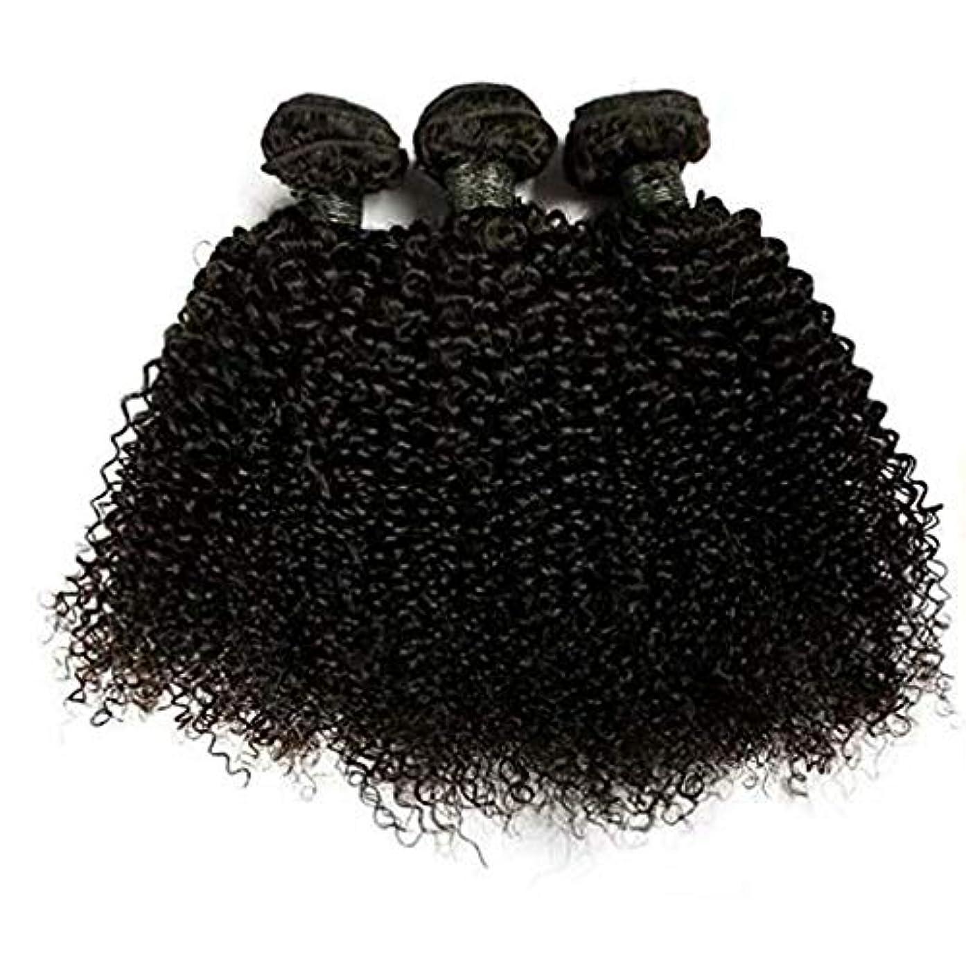 サーバドット統治可能WASAIO 髪織りナッピーカーリーバージン人毛エクステンション横糸女性の12のバンドルブラジルレアルリアルな色の「-18」1つのバンドル (色 : 黒, サイズ : 12 inch)