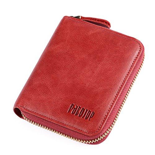 Pabojoe(パボジョエ)ラウンドファスナー二つ折り財布 本革 小銭入れ付き (レッド)