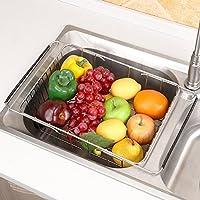 ステンレス製のキッチンシンクの排水とスタンド、引き込み式のシンクの長方形の皿ラックの果物と野菜のバスケット,Archednet