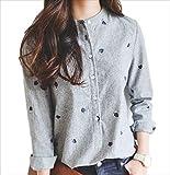 (フムフム) fumu fumu ブラウス 長袖 シャツ レディース 刺繍 ファッション かわいい ビジネス 上品 黒 ストライプ 柄 S M L XL ((5. XXL))