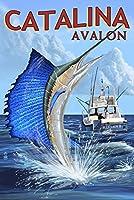 カタリナ島、カリフォルニア–Avalon–Sailfish 9 x 12 Art Print LANT-55433-9x12