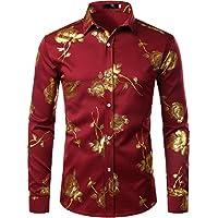 ZEROYAA Men's 3D Golden Rose Design Slim Fit Long Sleeve Button Down Floral Printed Dress Shirts