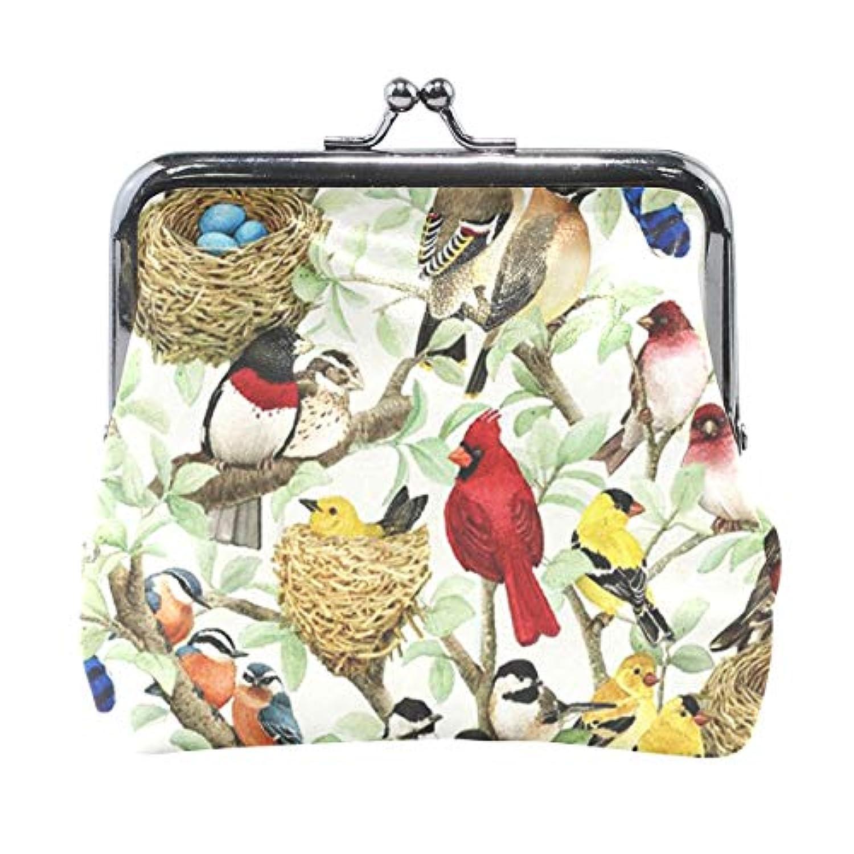がま口 小銭入れ 財布 色々鳥柄 コインケース レザー製 丸形 軽量 人気 おしゃれ プレゼント ギフト 雑貨