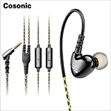 Cosonic w1スポーツヘッドフォン低音耳フックイヤホンヘッドセットインナーイヤー有線Runningとマイクのmp3プレーヤー/携帯電話–ブラック