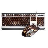 ゲーミングキーボードとマウスセット、メカニカルフィールオレンジバックライトメタル人間工学ワイヤードUSBキーボード+ 3200DPI呼吸用バックライトマウス